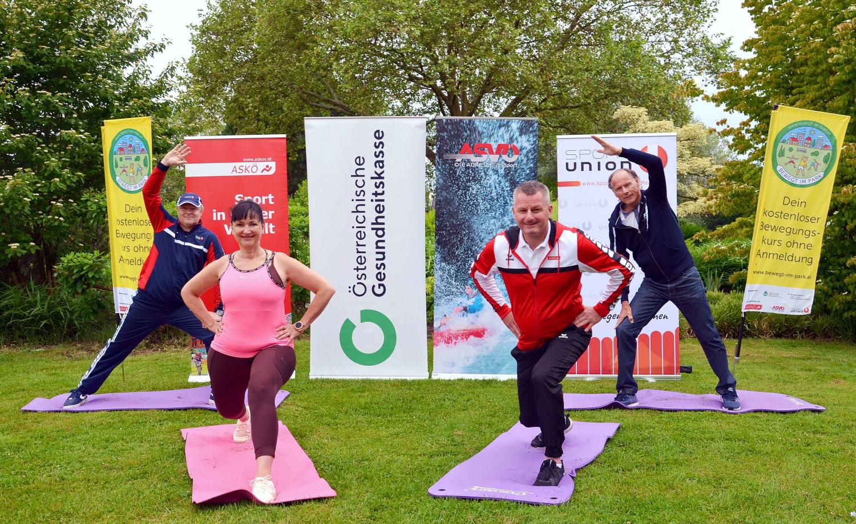 v.l.n.re.: Christian Cijan (GF Sportunion Kärnten), Sylvia Gstättner (ÖGK), Günther Leikam (GF ASKÖ Kärnten), Dr. Christoph Schasché (Präsident ASVÖ Kärnten)